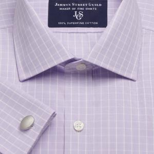 Lilac Westminster Check Poplin Men's Shirt Available in Four Fits