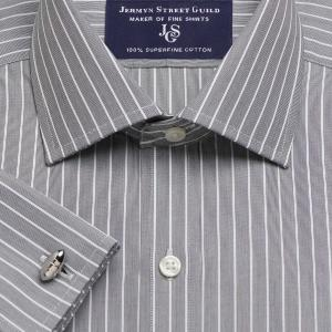 Charcoal Westminster Stripe Poplin Men's Shirt Available in Four Fits