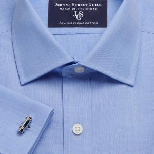 Blue End on End Poplin Men's Shirt Available in Four Fits