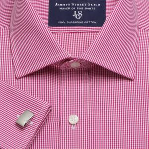 Raspberry Gingham Check Poplin Men's Shirt Available in Four Fits