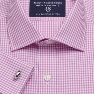Pink Chelsea Check Twill Men's Shirt Available in Four Fits