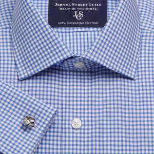 Sky Chelsea Check Twill Men's Shirt Available in Four Fits