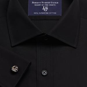 Black Solid Poplin Men's Shirt Available in Four Fits