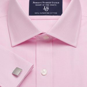 Pink Houndstooth Check Twill Men's Shirt Available in Four Fits