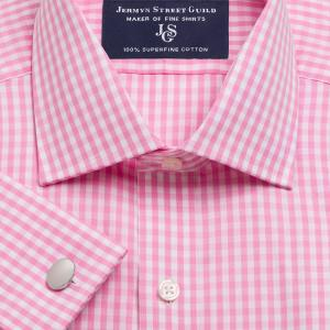 Pink Bold Check Poplin Men's Shirt Available in Four Fits
