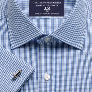 Blue Trafalgar Check Poplin Men's Shirt Available in Four Fits