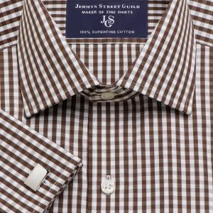 Brown Bold Check Poplin Men's Shirt Available in Four Fits