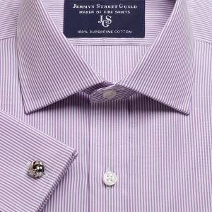 Purple French Bengal Stripe Poplin Men's Shirt Available in Four Fits