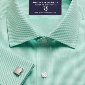 Green Gingham Check Poplin Men's Shirt Available in Four Fits