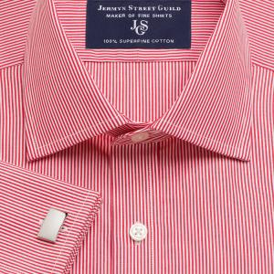 Red French Bengal Stripe Poplin Men's Shirt Available in Four Fits