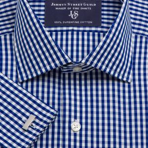 Navy Bold Check Poplin Men's Shirt Available in Four Fits
