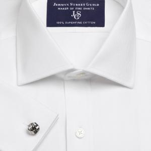White Royal Herringbone Men's Shirt Available in Four Fits