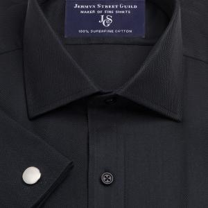 Black Royal Herringbone Men's Shirt Available in Four Fits
