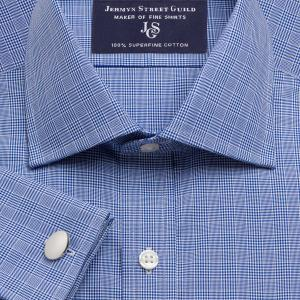Navy Prince of Wales Check Poplin Men's Shirt Available in Four Fits