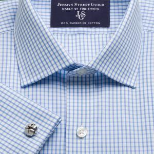Sky Knightsbridge Check Poplin Men's Shirt Available in Four Fits
