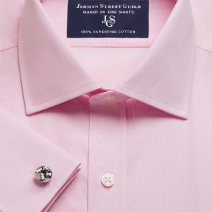 Pink End on End Poplin Men's Shirt Available in Four Fits