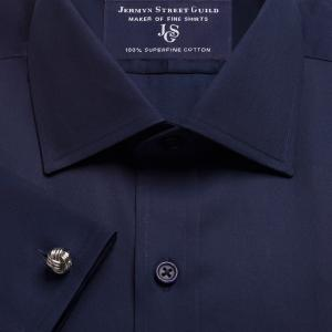 Navy Plain Sateen Men's Shirt Available in Four Fits