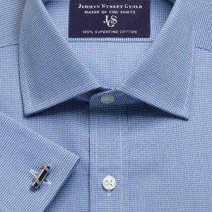 Blue Houndstooth Check Twill Men's Shirt Available in Four Fits
