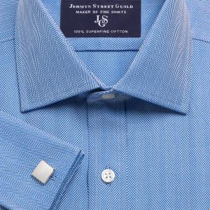 Navy Royal Herringbone Men's Shirt Available in Four Fits