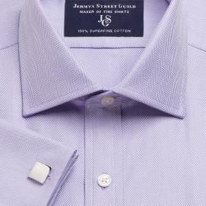 Lilac Royal Herringbone Men's Shirt Available in Four Fits