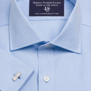 Sky Royal Herringbone Men's Shirt Available in Four Fits