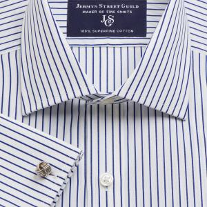 Navy Piccadilly Stripe Poplin Men's Shirt Available in Four Fits