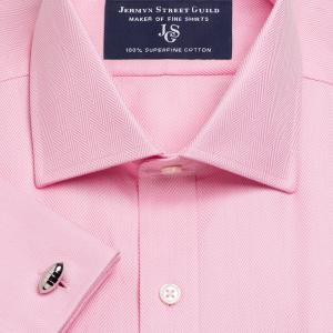 Pink Royal Herringbone Men's Shirt Available in Four Fits