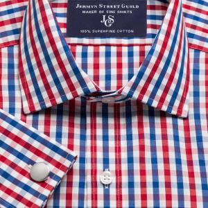 Red & Navy Buckingham Check Poplin Men's Shirt Available in Four Fits