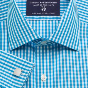 Aqua Bold Check Poplin Men's Shirt Available in Four Fits