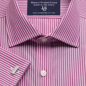 Magenta Mayfair Stripe Poplin Men's Shirt Available in Four Fits