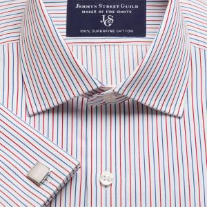 Red Marylebone Stripe Twill Men's Shirt Available in Four Fits