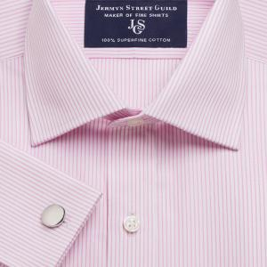 Pink Edinburgh Stripe Poplin Men's Shirt Available in Four Fits
