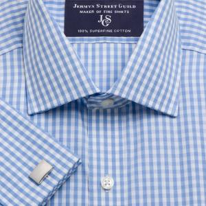 Sky Bold Check Poplin Men's Shirt Available in Four Fits
