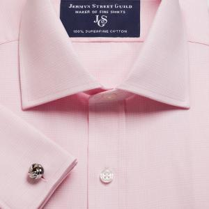 Pink Prince of Wales Check Twill Men's Shirt Available in Four Fits