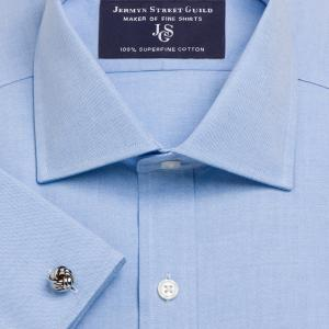 Blue Plain Pinpoint Oxford Men's Shirt Available in Four Fits