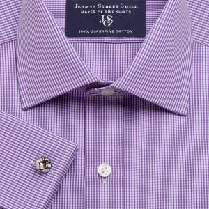 Purple Gingham Check Poplin Men's Shirt Available in Four Fits