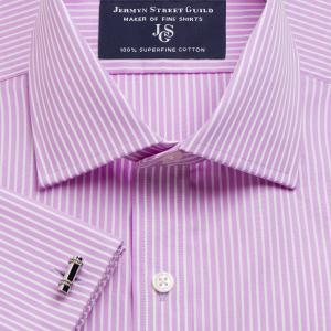 Lilac Mayfair Stripe Poplin Men's Shirt Available in Four Fits