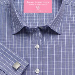 Navy Westminster Check Poplin Women's Shirt Available in Six Styles