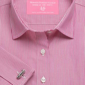 Raspberry French Bengal Stripe Poplin Women's Shirt Available in Six Styles