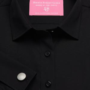 Black Solid Poplin Women's Shirt Available in Six Styles