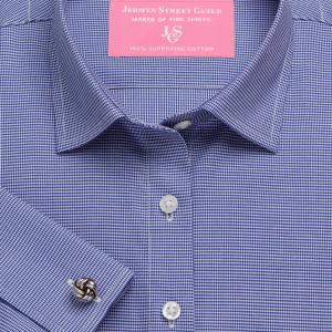 Navy Houndstooth Check Twill Women's Shirt Available in Six Styles