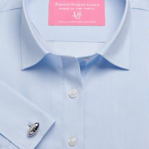 Sky Fine Pencil Stripe Twill Women's Shirt Available in Six Styles