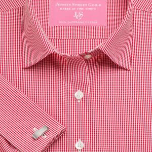 Red Gingham Check Poplin Women's Shirt Available in Six Styles