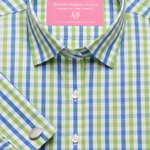 Green & Blue Buckingham Check Poplin Women's Shirt Available in Six Styles
