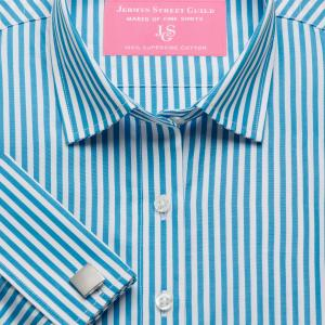 Aqua Bengal Stripe Poplin Women's Shirt Available in Six Styles
