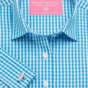 Aqua Bold Check Poplin Women's Shirt Available in Six Styles