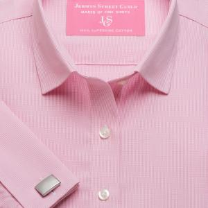 Pink Micro Check Poplin Women's Shirt Available in Six Styles
