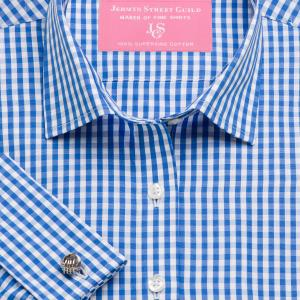 Blue Bold Check Poplin Women's Shirt Available in Six Styles