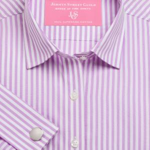Lilac Bengal Stripe Poplin Women's Shirt Available in Six Styles