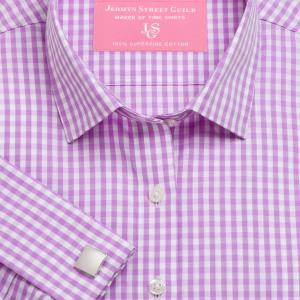 Lilac Bold Check Poplin Women's Shirt Available in Six Styles